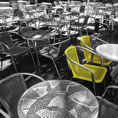 two yellow chairs (j.p.yef) Tags: peternfey jpyef yef chairs cafe bwplusyellow germany hamburg selectivecolor monochromepluscolor tables tische photomanipulation square