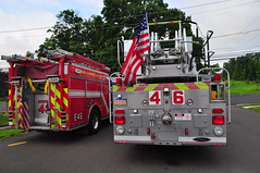 Eagle Volunteer Fire Company Engine 46 and  Tower Ladder 46 (Triborough) Tags: pa pennsylvania buckscounty newhope evfc eaglevolunteerfirecompany firetruck fireengine ladder tower towerladder ladder46 tower46 towerladder46 pierce lance engine engine46 dash