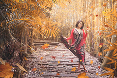 AUTUMM (prometeus_86) Tags: autumn lovely path forest photoshop asian chinese woman leaves falling