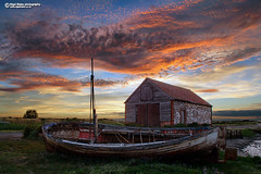 The Coal Barn at Thornham Staithe (Nigel Blake, 15 MILLION views! Many thanks!) Tags: coal barn thornham staithe nigelblakephotography nigelblake norfolk boat sky landscpe sunset clouds cloud orange dusk glow