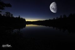 Good Night Algonquin (wilbias) Tags: ontario park canada sky landscape lake water reflection nature blue moon silhouette evening dark outdoors dusk astronomy hour half central algonquin super provincial fair weather