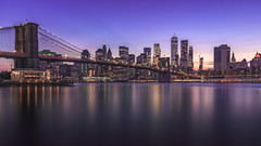Manhattan, NYC (RobertFenyo) Tags: city cityscape river reflection water dusk nyc manhattan bridge brooklyn