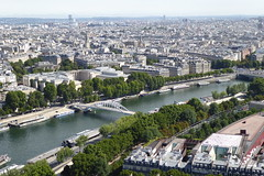 the Seine viewed from the Eiffel Tower (Muddy LaBoue) Tags: iledefrance monuments towers iconicarchitecture 1889 2017 july worldexposition eiffeltower paris france attractions tourism panasoniclumixdmctz60 summer tower city architecture river laseine seine