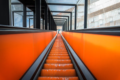 escalator (öppel) Tags: escalator germany ruhrgebiet ruhrpott ruhr essen zeche zollverein industrie industry kultur orange color colors farben perspektive perspective nikon d7100 sigma 1770 photography