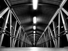 Go Station Pedestrian Bridge (duaneschermerhorn) Tags: black white blackandwhite blackwhite bw noire noir blanc blanco schwartz weiss