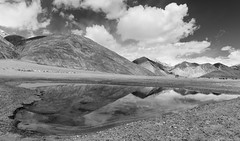 Pangong Lake in Monochrome (Nikondxfx (instagram)) Tags: 2017 d750 jk june ladakh landscape leh nikkor nikon tamron tourism tourist travel pangong lake tso monochrome blackandwhite bw reflection