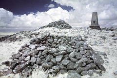 The summit, Cosdon Hill, Dartmoor (IR) (Sean Hartwell Photography) Tags: southzeal dartmoor nationalpark devon westcountry ir infrared landscape england ancient triangulationpillar triangulation pillar cairn stone summit cosdonhill trigpillar