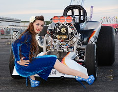 Holly_5163 (Fast an' Bulbous) Tags: girl woman pinup model altered supercharged stilettos stocking blue wiggle dress velvet dragster