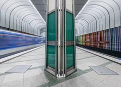 Bright Rainbow (katrin glaesmann) Tags: münchen munich tube station ubahn metro mvg dülferstrase workshop u2 jürgenrauch architekturbürolanz ricardadietz 1993 movingtrain handheld notripod