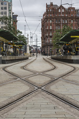 Crossed lines (andyrousephotography) Tags: manchester stpeterssquare secondcitycrossing metrolink trams rails railways lines crossing symmetry diamond architecture buildings midlandhotel andyrouse canon eos 5d mkiii ef24105mmf4l