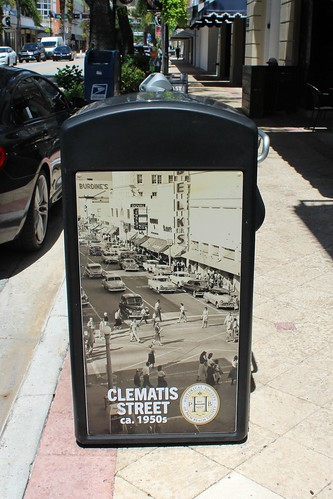 Downtown West Palm Beach Garbage Can Showing Vintage Photo