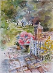 Pour le groupe Défiaqua: Jardin Défi juin, juillet, août 2017 (geneterre69) Tags: aquarelle watercolor jardin bouquet fleurs