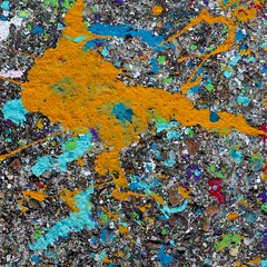 Spattered (No Great Hurry) Tags: multicoloured orangeandblue colourful colours color square paint artwork art unintentionalart urbanabstract splatter ground splashstract splashed graffiti robinmauricebarr nogreathurry texture abstract foundpainting likeapainting orange blue 500mm prime july july2017