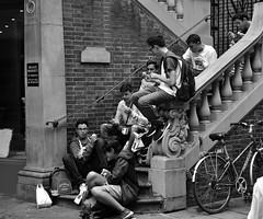 Students (James Mans) Tags: nikon 5500 uk england cambridge weekend away students sitting bw blackandwhite
