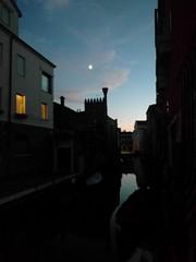 Moon over Venice plus window - Venice, Italy (ashabot) Tags: venice italy veniceitaly moon twilight silhouette