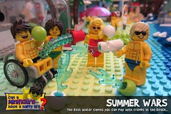 Summer Wars (EVWEB) Tags: summer lego beach sea water bomb gun friends gus boy girl chair fun humor splash minifigures wheelchair