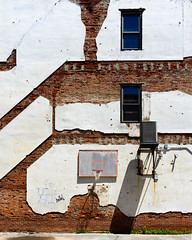 """Urban Basketball Court"" (D A Baker) Tags: shadow recreation urban downtown basketball net backboard windows brick plaster chipping old long shadows alley parking lot weeds fort wayne indiana ac unit air conditioner cracks hotel rosemarie footprint"