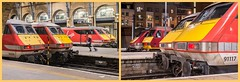 King's Cross line-up (Nodding Pig) Tags: london kingscross railway station england greatbritain uk 2017 class91 electric locomotive class90 91117 91106 90039 91132 vtec dvt virgintrains eastcoast diptych kxlineupdiptych