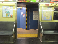 NYC Subway, 07/18/17: looking through the doors of a Jamaica-bound Z train at the  closed-for-repairs Exchange Place exit from the Broad Street station (IMG_5415) (Gary Dunaier) Tags: mta metropolitantransportationauthority trains publictrasportation transportation commuting commuters nyc newyorkcity