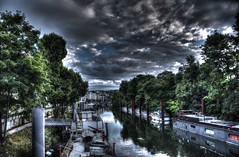 Checking if La Seine is still thirsty... yes she is (Narek Talatinian) Tags: seine laseine issy france paris river french boats waterscape clouds hdr quality dark light cloudy trees green reflects symetry