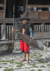 Nias warrior in traditonal outfit (Hannes Rada) Tags: indonesia nias island bawomataluo warrior