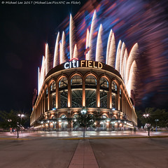 Citi Field Fireworks (20170715-DSC07166-Edit) (Michael.Lee.Pics.NYC) Tags: newyork citifield flushing queens mlb majorleaguebaseball mets fireworks stadium composite blend square symmetry smoke sony a7rm2 voigtlanderheliar10mmf56 night longexposure architecture