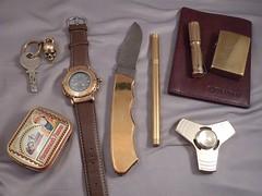 ddg2 brass edc m (ddg.2) Tags: edc pen brass lighter survival coin wallet flash light knife watch compass