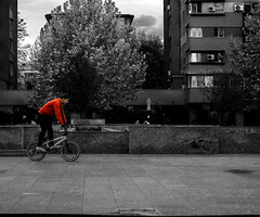 Show me what you got (Deathbyhugs) Tags: romania slatina europe city blackandwhite kid bike bmx tricks