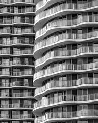London   |   Hoola (JB_1984) Tags: hoola hoolalondon flats apartments housing housingdevelopment balcony tower curve lines waves blackandwhite bw mono royalvictoriadock canningtown docklands londonboroughofnewham london england uk unitedkingdom