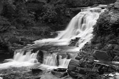 Summer by the Waterfall (SunnyDazzled) Tags: waterfall cliffs longexposure bw flowing water bushkill creek river pennsylvania poconos scenery boyscoutcamp resica falls nature movement stones geology