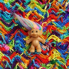 A troll in its natural habitat (crochetbug13) Tags: crochet crocheted crocheting crochetrippleafghan crochetrippleblanket crochetripplethrow scrapghan yarnscrapcrochet crochetblanket texturedcrochetblanket usewhatyouhave texturedcrochetthrow texturedcrochetafghan crochetthrow crochetafghan