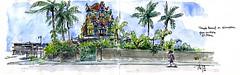 Temple tamoul à St-Pierre (P h i l de couleur) Tags: aquarelle architecture temple tamoul malbar encre reunion reunionisland réunion rue tropical patrimoine croquis sketch saintpierre street dessin feutre watercolor coconut cocotier