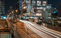 11th Avenue (20170716-DSC07296) (Michael.Lee.Pics.NYC) Tags: newyork highline 11thavenue hudsonyards night longexposure lighttrail traffictrail architecture cityscape construction sony a7rm2 zeissloxia50mmf2