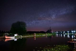 De Vijfhuizer Molen in Haarlem by night