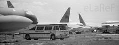 Our Bus (eLaReF) Tags: our bus masdc tucson az boneyard storage dm davismonthan davis monthan derelict desert airplane graveyard aeroplane bw black white