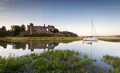 Castellation (Sarah_Brooks) Tags: camarthenshire laugharne talacharn landscape tide tidal boat castle castellations wales welsh villageancient