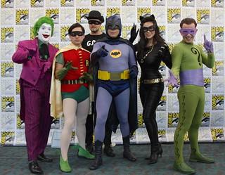 The Joker, Robin, a Goon, Batman, Catwoman, and the Riddler