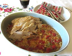Turkey Breast with Barley and Tomatoes (Traveling with Simone) Tags: meal food turkey dinner lunch barley tomatoes sauce savory eating repas dîner déjeuner meat viande dinde cuisine cooking homecooking