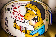 Don't Fuck with the Elderly (Thomas Hawk) Tags: america california cossonhall logo sf sagehall sanfrancisco starburst ti treasureisland usa unitedstates unitedstatesofamerica westcoast abandoned barracks decay graffiti fav10 fav25