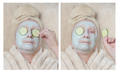 Masked (Explored) (lclower19) Tags: mask diptych 3052 522017 spa clay cucumber facial sb600 atsh explored odt staycation