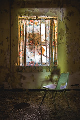When I can't feel you, I'm not alright (Erin Watson/Abandoned Exploration) Tags: abandoned forgotten old decay history emotion sad lonely quiet light dark darkness curtain chair theres always floral flower ripped peeling paint peely porn ruin dirty dirt grime urban exploration exploring explore ue urbex erin watson photograph create road trip adventure shadow canon 5dm3 window broken historic