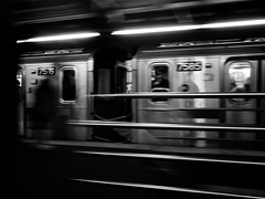 Motion (Will.Mak) Tags: blackandwhite monochrome subway train platform transportation people motion speed trains newyork newyorkcity nyc queens station street