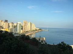 Beirut (Mashkour) Tags: earth water blue sky buildings rode sunny clear day lighthouse beach mediterraneansea sea beirut