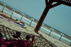 The Independence of Triangles (Ivona & Eli) Tags: witkiewicz waves herzliya israel women orwocolor orwo triangles sea sand sunbathing peple beach