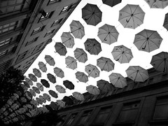 urban observatory (vfrgk) Tags: urbanphotography urbanart artwork art umbrellas lookingup buildings perspective urbanfragment streetphotography streetscene streetart monochrome blackandwhite bnw bw architecture abstract observatory space antennas pattern octagon geometric lines