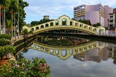 Jambatan Old Bus station (Old bus station bridge) in Melaka across Malacca river, Malaysia (Frans.Sellies) Tags: img2218 malaysia melaka malacca water reflections bridge