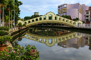 Jambatan Old Bus station (Old bus station bridge) in Melaka across Malacca river, Malaysia