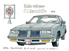 Oldsmobile, 1983 (gerard michel) Tags: auto ancêtre oldsmobile sketch croquis aquarelle watercolour