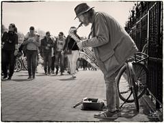 Streetlife (Bram de Jong) Tags: streetphotography monochrome man musicians people everydaypeople nikon human amsterdam citylife streetlife 1450mm niksilverefex