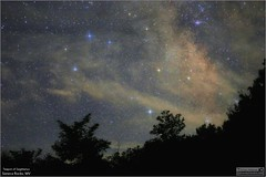 Sagittarius Teapot Over Seneca Rocks, WV (Tom Wildoner) Tags: tomwildoner leisurelyscientistcom leisurelyscientist m6 m7 trees silhouette nature environment senecarocks westvirginia wv milkyway nightsky night astronomy astrophotography astronomer science space canon canon6d widefield sagittarius teapot constellation stars darkness messier clouds july 2017
